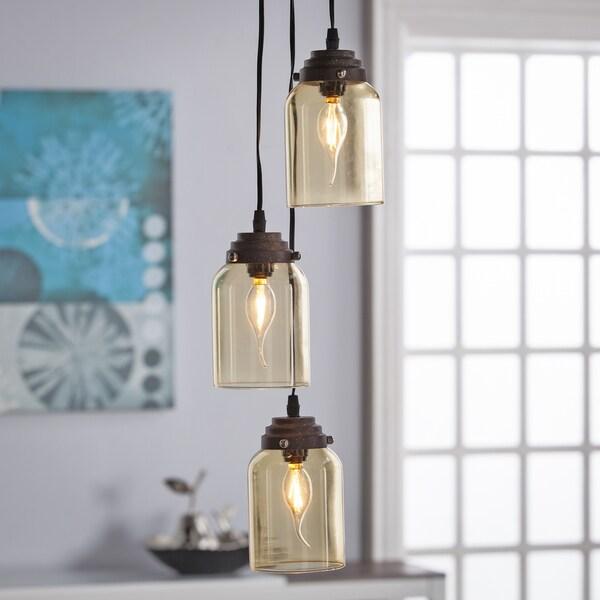 Harper Blvd Ticino Colored Glass Triple Pendant Lamp- Amber 22436814