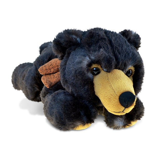 Puzzled Lying Wild Black Bear Super-soft Plush Toy