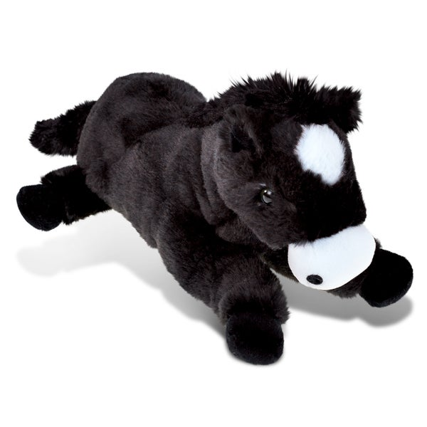 Puzzled 'Lying Horse' Black Super Soft Plush Stuffed Animal 22437676