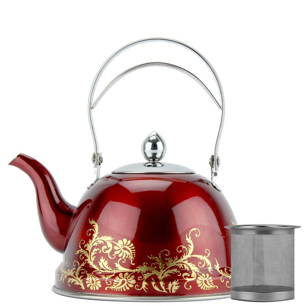 Red Stainless Steel 1-liter Tea Kettle