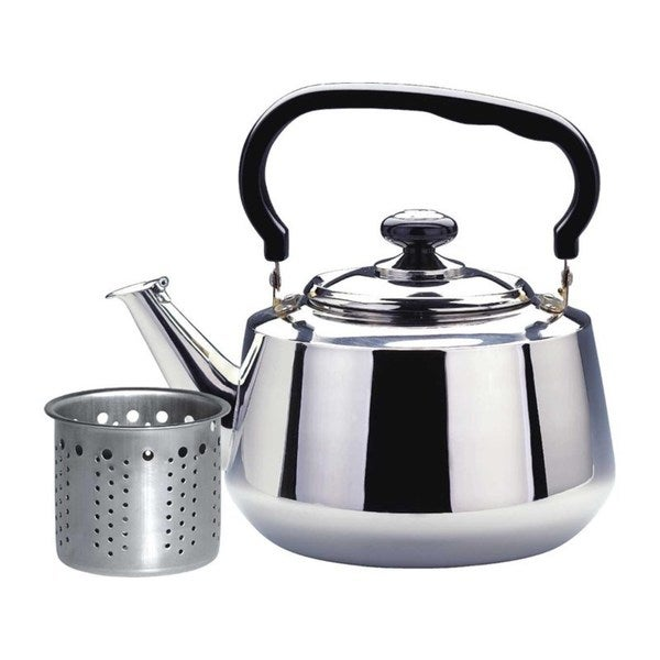 Silvertone/Black Stainless Steel 1.6-liter Tea Kettle with Strainer