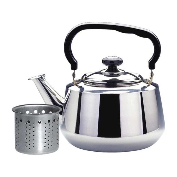 Silvertone/Black Stainless Steel 1.6-liter Tea Kettle with Strainer
