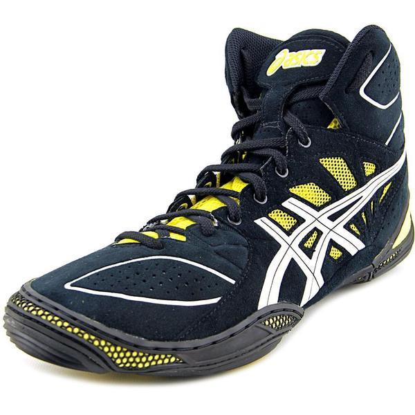 Asics Men's 'Dan Gable Ultimate 4' Black Leather Athletic Shoes