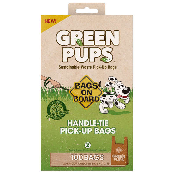 Bags on Board Green-Ups Dog Waste Pick-Up Hand Tie Bags