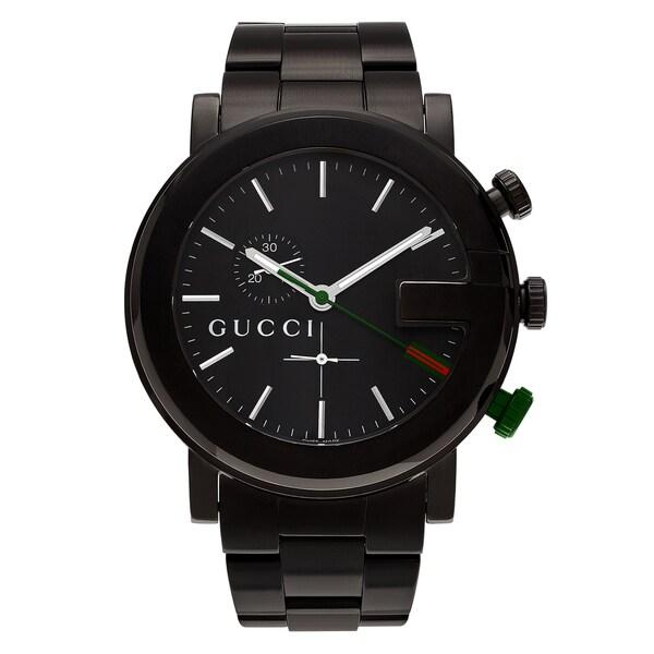 Gucci Men's '101G' YA101331 Black Ion Plated Chronograph Dial Link Bracelet Watch
