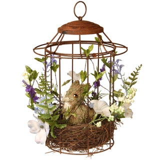 National Tree Company Easter Bird Cage with Rabbit Metal and Wood Fibers 12-inch Accent Piece