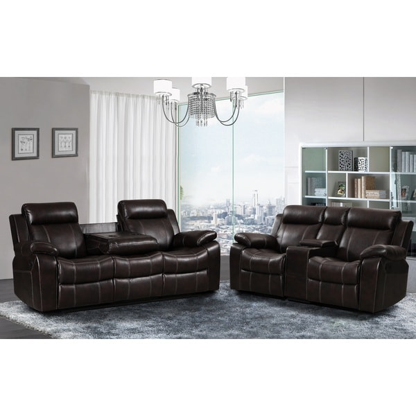 Sherry Dark Brown Leather Air 2 pc Reclining Sofa and Gliding Loveseat set 22448302