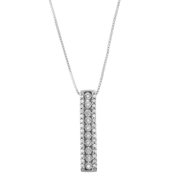 1/5 CTTW Miracle Plate Diamond Stick Pendant in Sterling Silver ( White, Black, Blue)