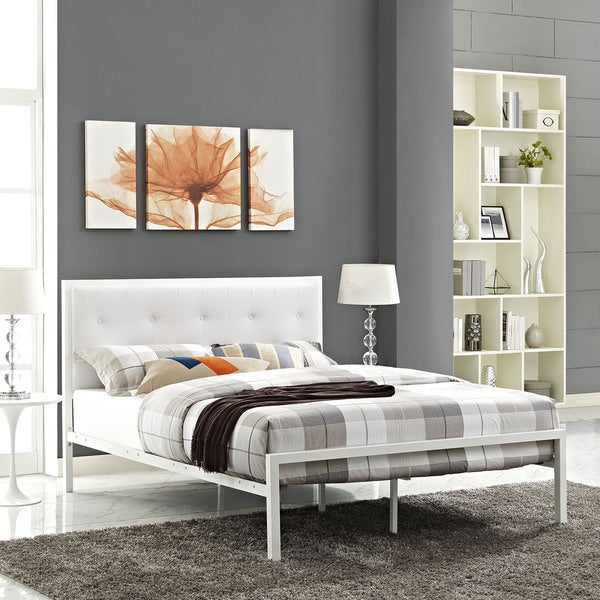 Lottie Vinyl Bed in White White