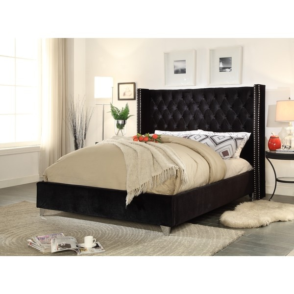 Aiden Black Velvet Bed 22457601