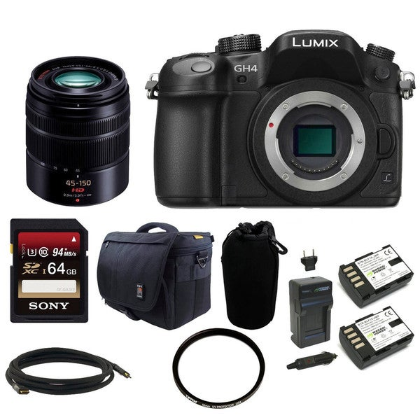Panasonic LUMIX DMC-GH4KBODY 16.05MP Digital Camera with Panasonic H-FS45150K Lumix G Series Lens (Black) and 64GB Bundle