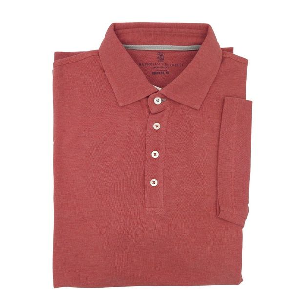 Brunello Cucinelli Slim-Fit Salmon Polo w/ 4-Button Collar Closure