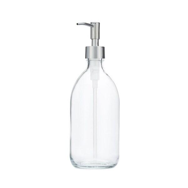 RAIL19 Savon Glass Soap Dispenser w/ Chrome Rustic Pump
