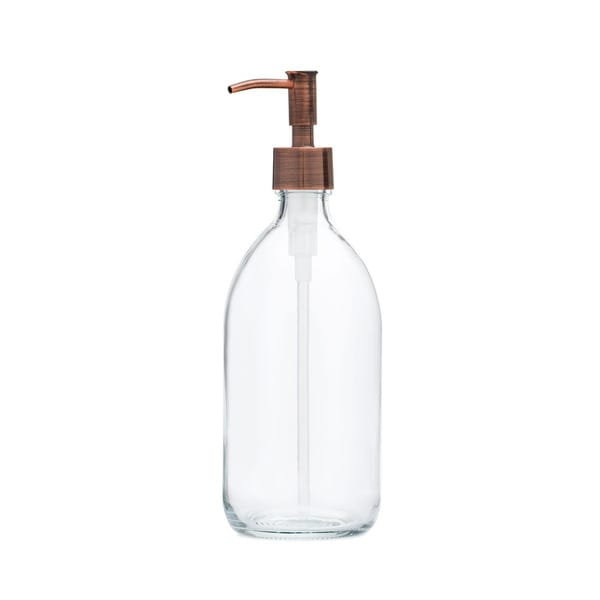 RAIL19 Savon Glass Soap Dispenser w/ Copper Rustic Pump
