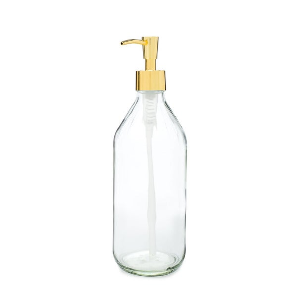 RAIL19 Vintage Inspired Glass Soap Dispenser w/ Gold Pump