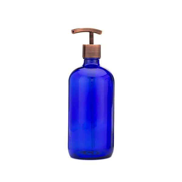 RAIL19 Market Blue Glass Soap Dispenser w/ Copper Modern Pump