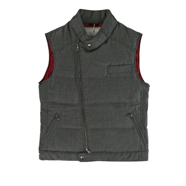 Brunello Cucinelli Graphite Grey Asymmetrical Puffer Vest