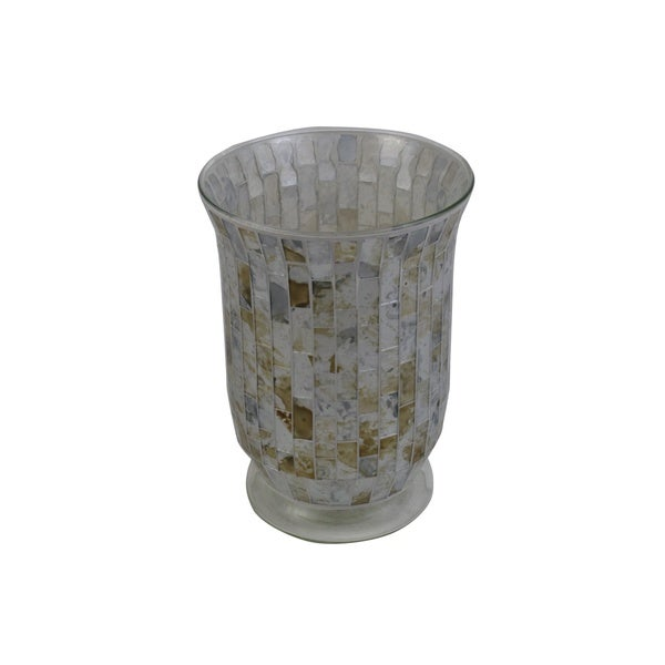 Grey Glass Mosaic Candle Holder 22470887