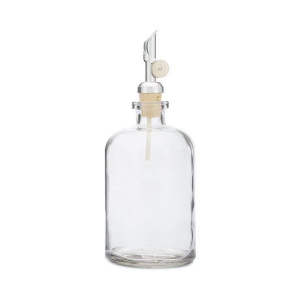 RAIL19 Glass Oil Dispenser w/ Silver Metal Self Pour Spout