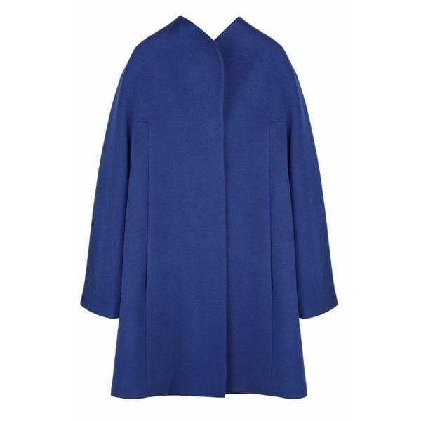 Elie Tahari Dalia Blue Wool Blend Plus Size Coat