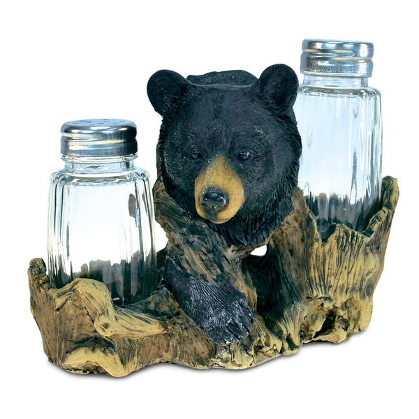 Black Bear Resin/Stone Salt-and-Pepper Holder