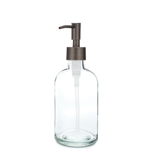 RAIL19 Small Clear Glass Soap Dispenser w/ Bronze Rustic Pump