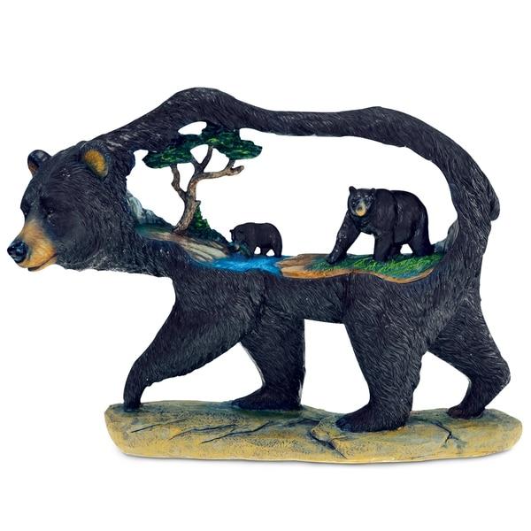 Black Bears in A Black Bear Scene Sculpture