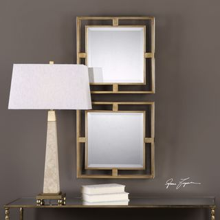 Uttermost Allick Gold Square Mirrors (Set of 2) - Antique Silver - 18x18x2.5