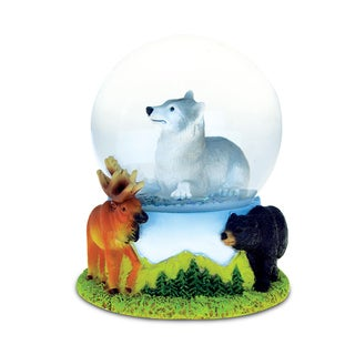 Puzzled Resin and Stone Wolf Snow Globe