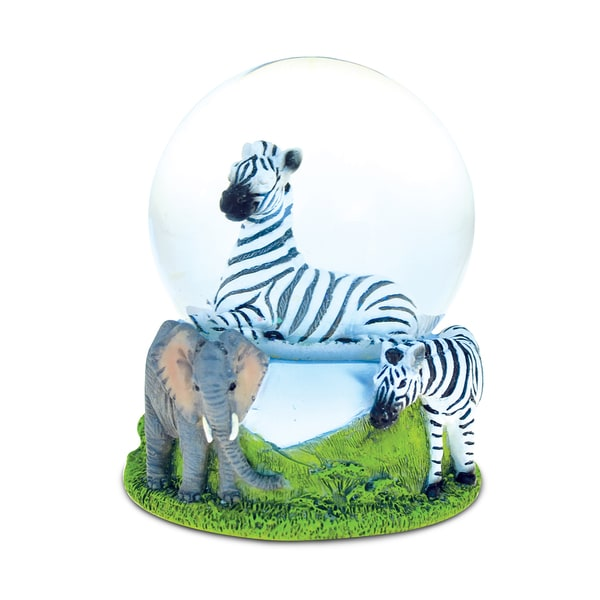 Puzzled Stone and Resin Zebra Snow Globe