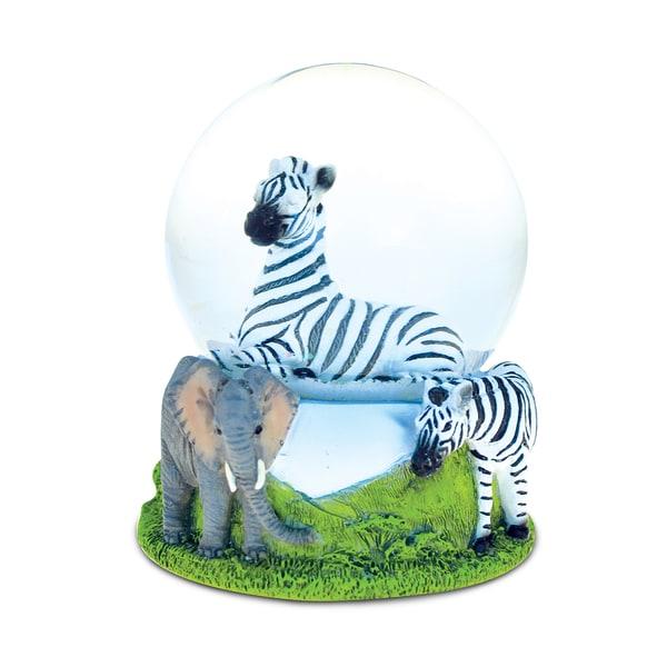 Puzzled Stone and Resin Zebra Snow Globe
