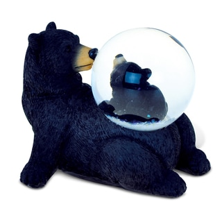 Puzzled Resin and Stone Black Bear Snow Globe
