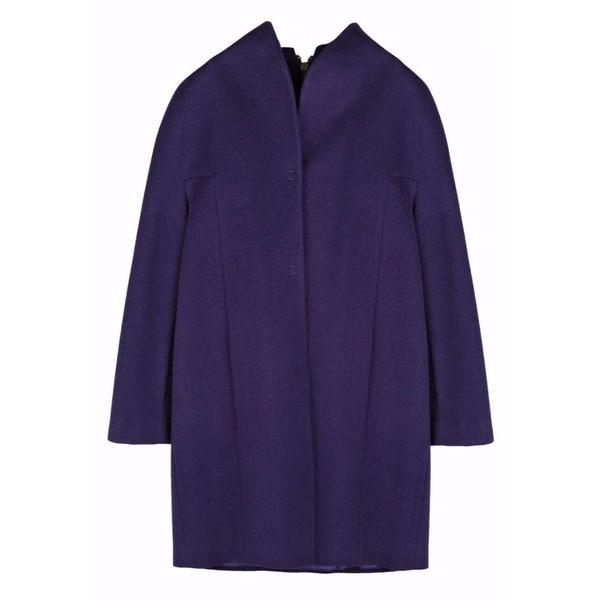 Elie Tahari Dalia Dark Purple Wool Plus-size Coat