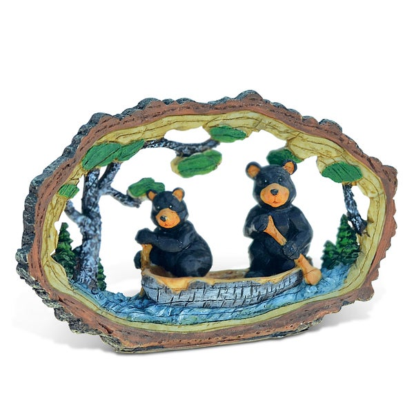 Puzzled Black Bears Paddling Canoe Boat in the Wild Wood Slice