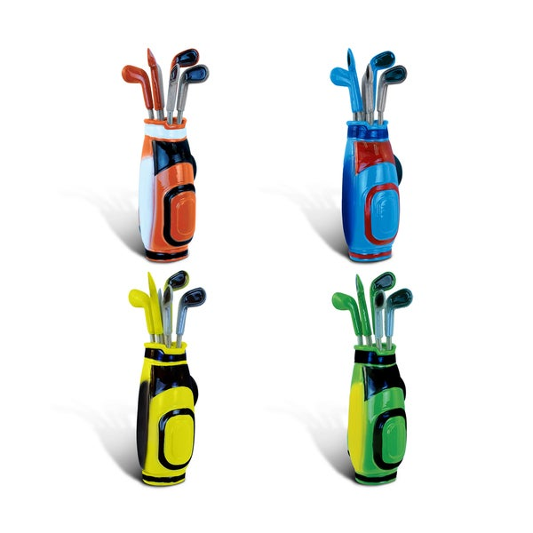 Puzzled Golf Bag Plastic Bobble Magnet (Set of 4)