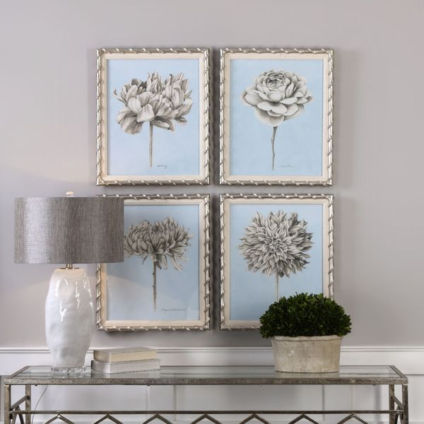 Uttermost Graphite Botanical Study Floral Prints (Set of 4)