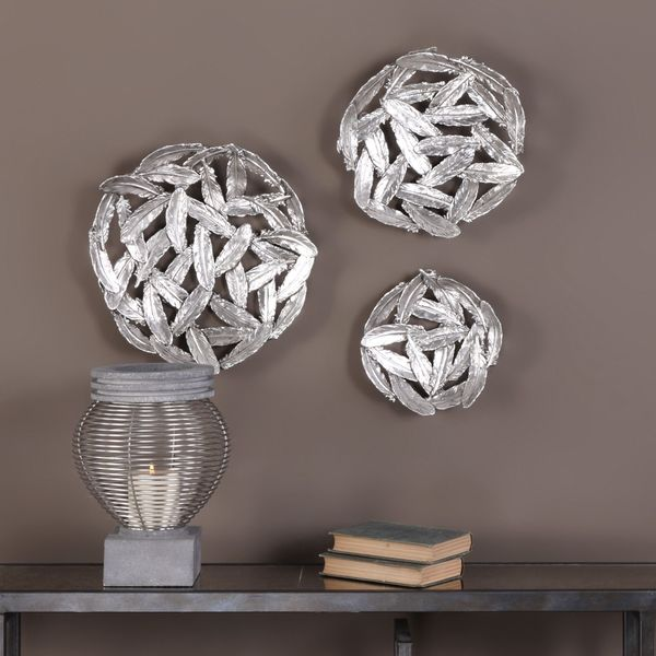 Uttermost Quills Silver Circular Wall Art (Set of 3)