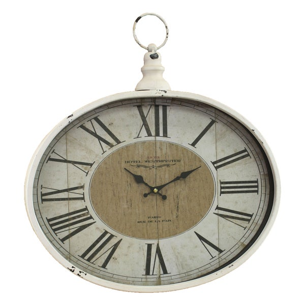 Westminster White/Black Metal Distressed Pocket Watch Wall Clock 22485090