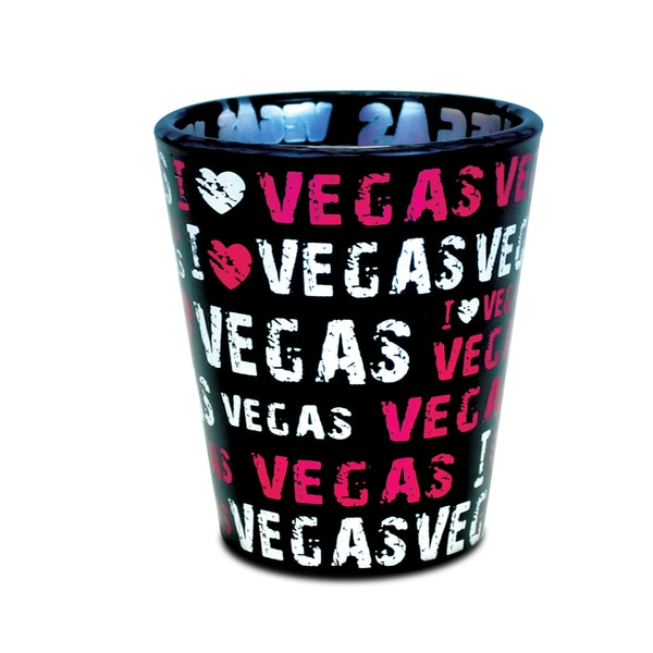 Puzzled 'I Love Vegas' Pink Black Shot Glass