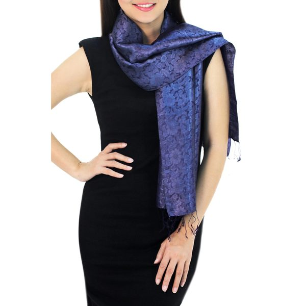 Scarf, 'Navy Blue Bouquet' (Thailand)