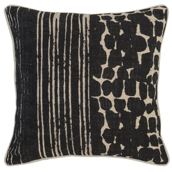 Kosas Home Tanza 18x18 Linen Black Down and Feather Filled Throw Pillow
