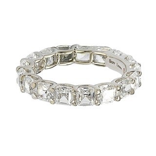 Suzy L. Sterling Silver Cubic Zirconia White Modern Eternity Band