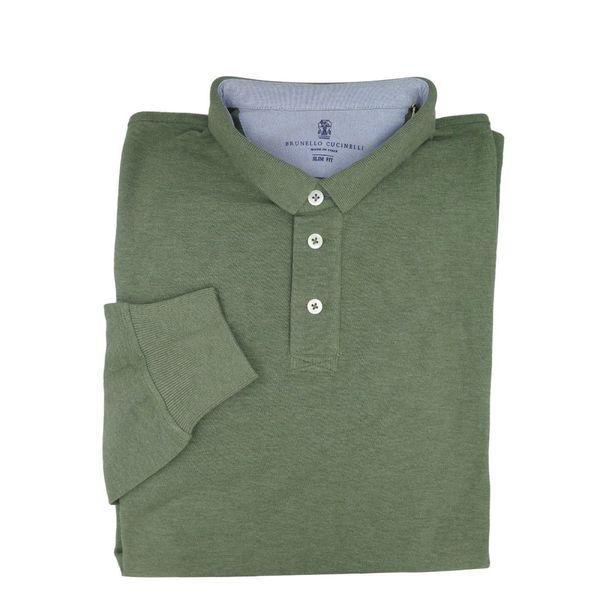 Brunello Cucinelli Long Sleeve Green Polo