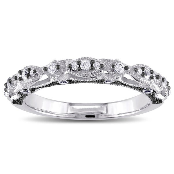 Miadora 10k White Gold and Black Rhodium Created White Sapphire Diamond Accent Infinity Anniversary Band (G-H, I2-I3)