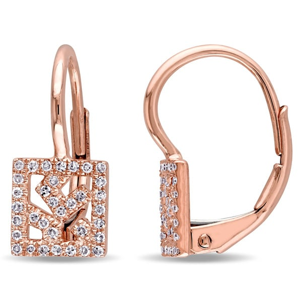 Miadora 14k Rose Gold 1/6ct TDW Diamond Vintage Square Cluster Leverback Earrings (G-H, SI1-SI2)
