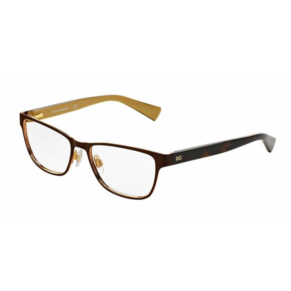 Dolce & Gabbana Womens DG1273 1269 Brown Metal Rectangle Eyeglasses