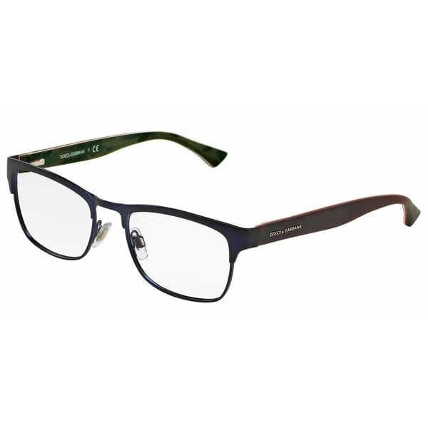 Dolce & Gabbana Mens DG1274 1280 Blue Metal Square Eyeglasses