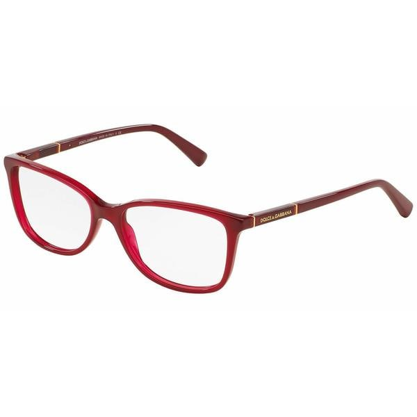 Dolce & Gabbana Womens DG3219 LOGO PLAQUE 2681 Bordeaux Plastic Rectangle Eyeglasses