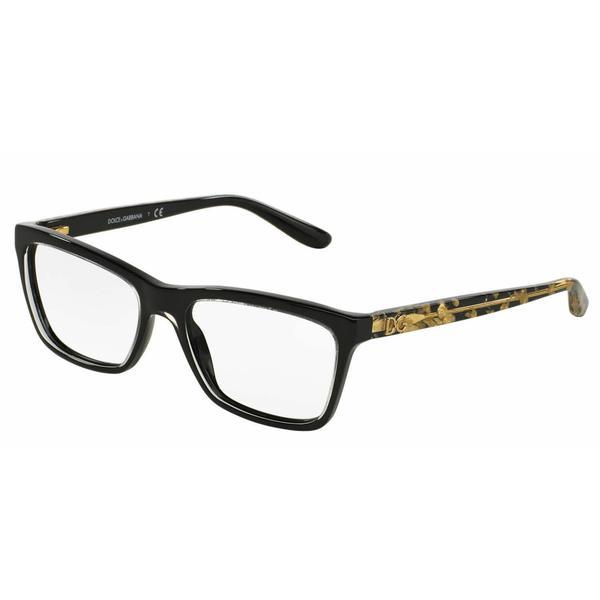 Dolce & Gabbana Womens DG3220 2917 Black Plastic Rectangle Eyeglasses