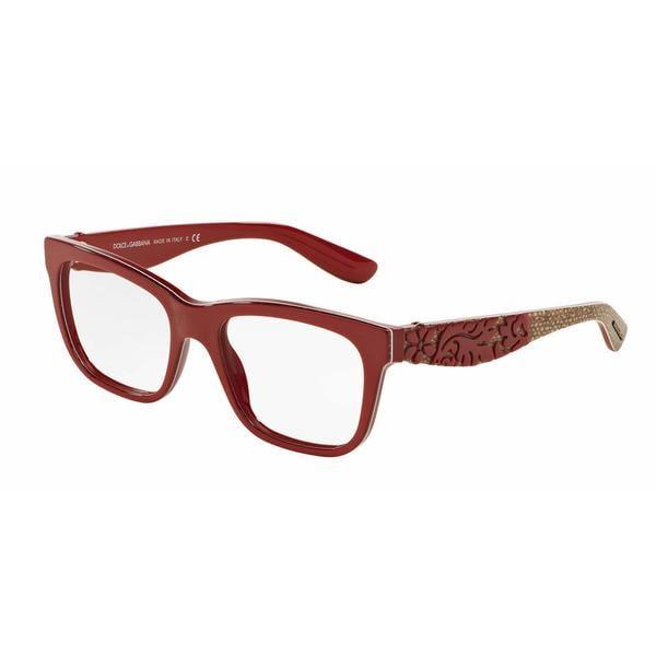 Dolce & Gabbana Womens DG3239 2999 Red Plastic Square Eyeglasses